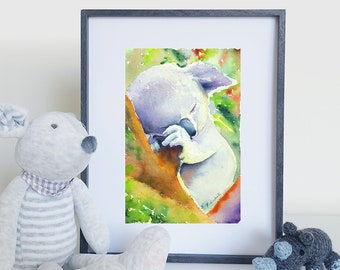 Koala watercolor, Giclée fine art print, original painting by Francesca Licchelli, home office decoration, new baby, nursery, christianing.