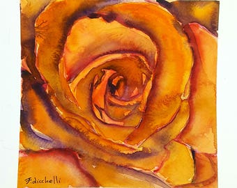 Orange rose, watercolor, original ooak, one of a kind, gift idea for birthday, wall art, living room picture, bedroom art, floral painting.