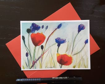 Greetings card with poppies and wild flowers, A6, giclee fine art print, original watercolor painting, special thought, dedication, shabby.
