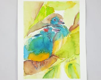 Blue birds, 8x10 inch. giclée fine art print of original artwork, watercolor on paper, nursery, babies, home office decoration, baby shower.