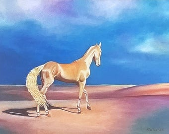 Akhal-Teke horse, glicée fine art print of original oil on canvas, gift idea for him, home office traditional decoration, wall art, A4.
