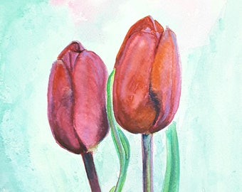 Red tulips, watercolor, original painting, home office decoration, traditional wall art, decor for bedroom or living, baby shower gift idea