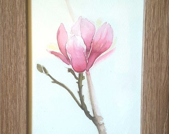 Magnolia flower, original painting with frame, watercolor, gift idea for her, home office decoration, bedroom or living decor, mini picture.