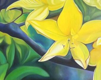 Yellow lily, big flower, giclée fine art print, original oil by Francesca Licchelli, home decore idea, modern decoration, contemporary art.