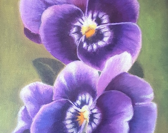 Oil painting, purple pansy, 7x9 inc., original picture for bedroom, living room, sewing room, her birthday, anniversary, home decoration.