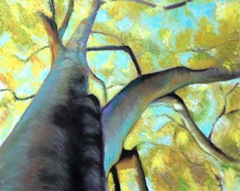 "Tree, giclée fine art print of original artwork, oil on canvas, ""The sky"", elegant gift idea for men, traditional or modern home decoration."