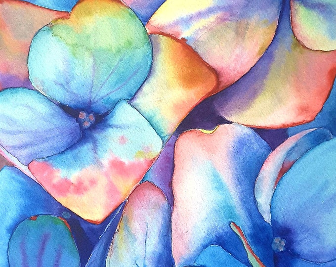 Featured listing image: Colored hydrangea, original watercolor by Francesca Licchelli, home office decoration, bedroom decor, romantic gift idea for her, wall art.