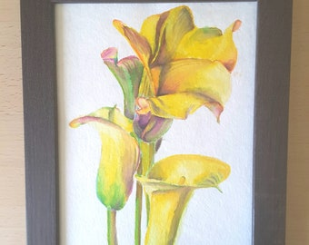 Little picture with yellow callas, original painting by Francesca Licchelli, ideal decoration for traditional home decor, present idea.