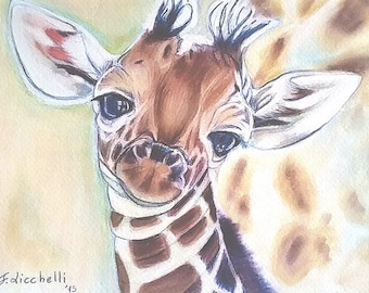 Baby giraffe, giclee fine art print of my original drawing, gift idea for babies birth, baptism, nursery decoration, wall art, home decor.