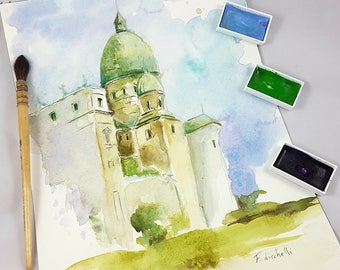 Landscape with dome, tradicional watercolor, reproduction, gift idea for man, home decoration for lounge, villa, studio, office, wall art.