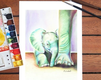 Baby elephant, giclee fine art print of my original watercolor, gift idea for babies birth, baptism, nursery decoration, home decore, art.