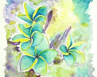 Plumeria alba, original watercolor, frangipani painting, OOAK, wall decoration, home office art, kitchen decor, gift idea for mother.