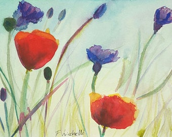 Wildflowers, poppies, original watercolor, giclee fine art print, A5, country house decoration, romantic gift idea for her, home decor, art.