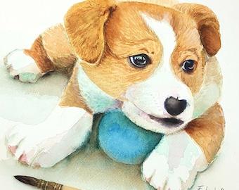Puppy, dog, original watercolor by Francesca Licchelli, pet portrait, ooak, gift idea for baptism or birth, home decoration, child's bedroom