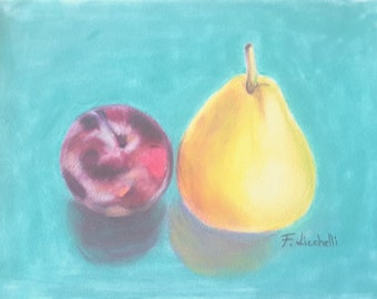 Plum and pear, painting, original pastel on velvet paper, still life, 6x8 inch., kitchen decoration, birthday gift, tiny picture, wall art.