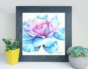 Blue rose, square wstercolor, original painting by Francesca Licchelli, bedroom decoration, romantic illustration, gift idea for woman, art.