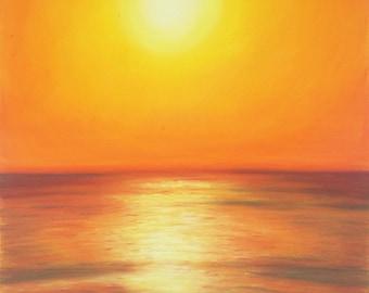 Sunset, giclée fine art print of original artwork, pastel on paper, gift idea for him, home office decoration, modern wall art, lounge.