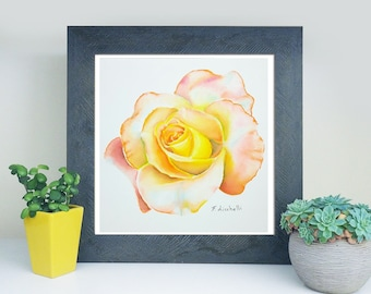 Yellow rose, delicate watercolor, original artwork by Francesca Licchelli, gift idea for her, traditional, botanical home office decoration.