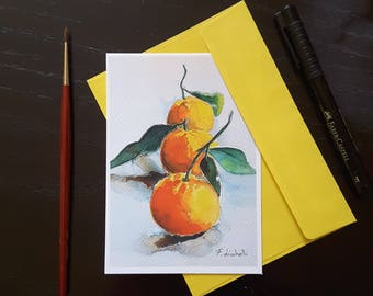 Greetings card, tangerines, original watercolor, giclee fine art print, A6, special dedication to dear person, Thanksgiving occasion.