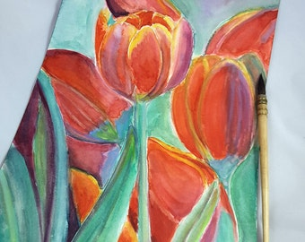 Red tulips, original watercolor, ooak, romantic gift idea, wall art, home office decoration, lounge art, living, bedroom, woman token.