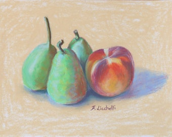 Still life, pears and peach, original pastel, kitchen decoration, gift idea for Christmas, birthday, contemporary art, home decor, wall art.