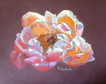 Peony, original painting by Francesca Licchelli, elegant and romantic picture, gift ideafor her, bedroom decoration, modern lounge, loft.