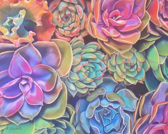 Succulents painting, original pastel, 30x40 cm, 12x16 inch., gardening lovers gift idea, home office decoration, inauguration new house, art