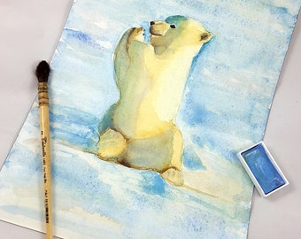 Polar bear puppy, original watercolor on paper, A4, gift idea for baptism or birth, baby shower present, home office decoration, nursery art