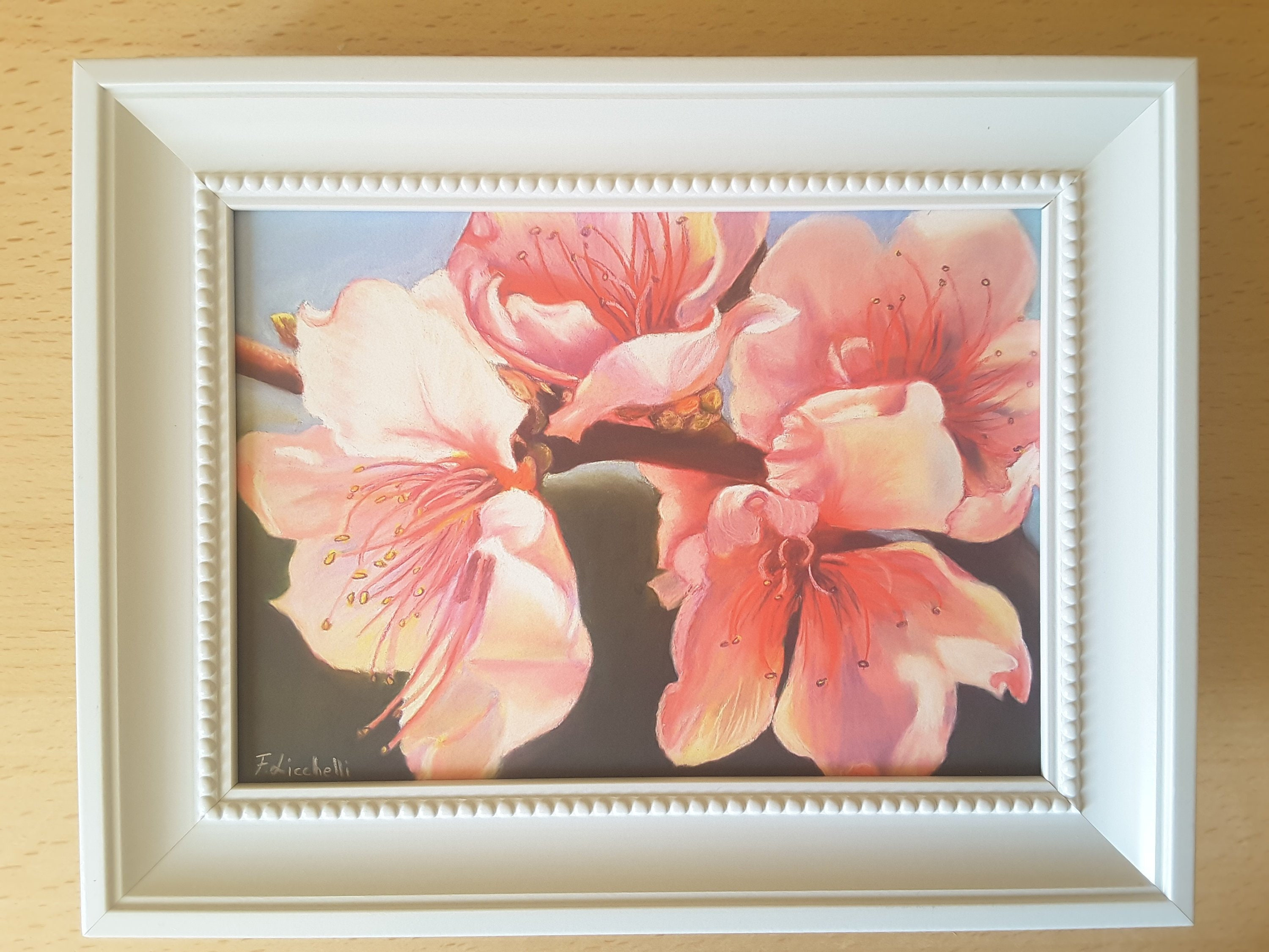 Floral Painting With Frame Shabby Chic Style Romantic Gift Idea