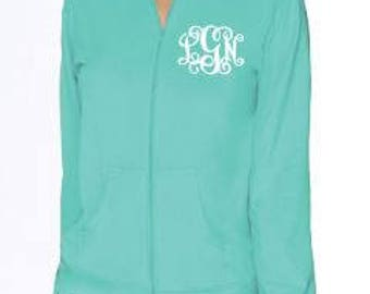 Monogram hoodie Jacket.  Fall apparel for women. Zip Up Hoody