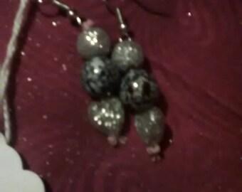 Black and Silver Heart Earrings