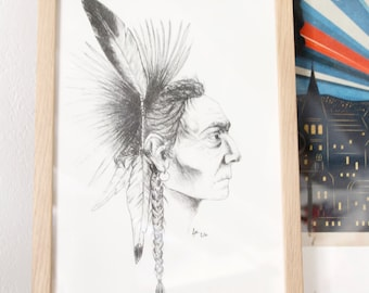 Portrait of native American, format A4 Limited Edition 10 copies signed and numbered by hand. Handmade pencil without the frame.