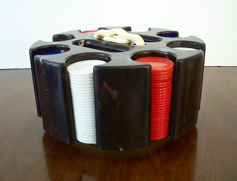 Eight Poker Chip Sleeves Red White Blue Chips Marbled Plastic Poker Chip Caddy Plastic Handle Two Card Deck Cubbies Poker Chip Carousel