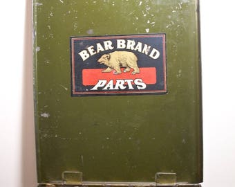 Bear Brand Parts Green Metal Box with Handle! Well Used Appearance, Some Arrested Rust, Worn Army Green Finish, Bear Brand Parts Label