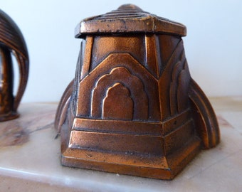 Vintage French Copper Inkwell, Art Deco Marble Inkwell Featuring Birds, Office Desk Decor 0418009-573
