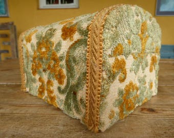 Carpet Covered Storage Box, Craft Storage, Vintage French Container, 0917014-313