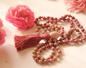 Knotted Long 108 Rose Rhodonite Mala necklace with Cotton Tassel