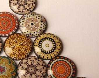 Yoga Golden Mandala Glass Fridge Magnets - Party Bag Fillers - Gift for Yogis - Event giveaways 4 magnets for 14.00