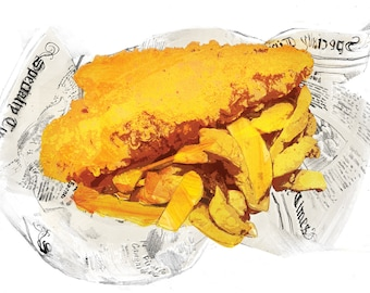 Retro vintage british seaside fish and chips food poster print artwork collectable limited edition A3 print 250 gram.