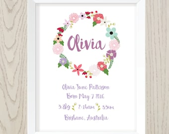 Customised Girls Birth Details Print 8x10 or 11x14 inch - floral design - printable