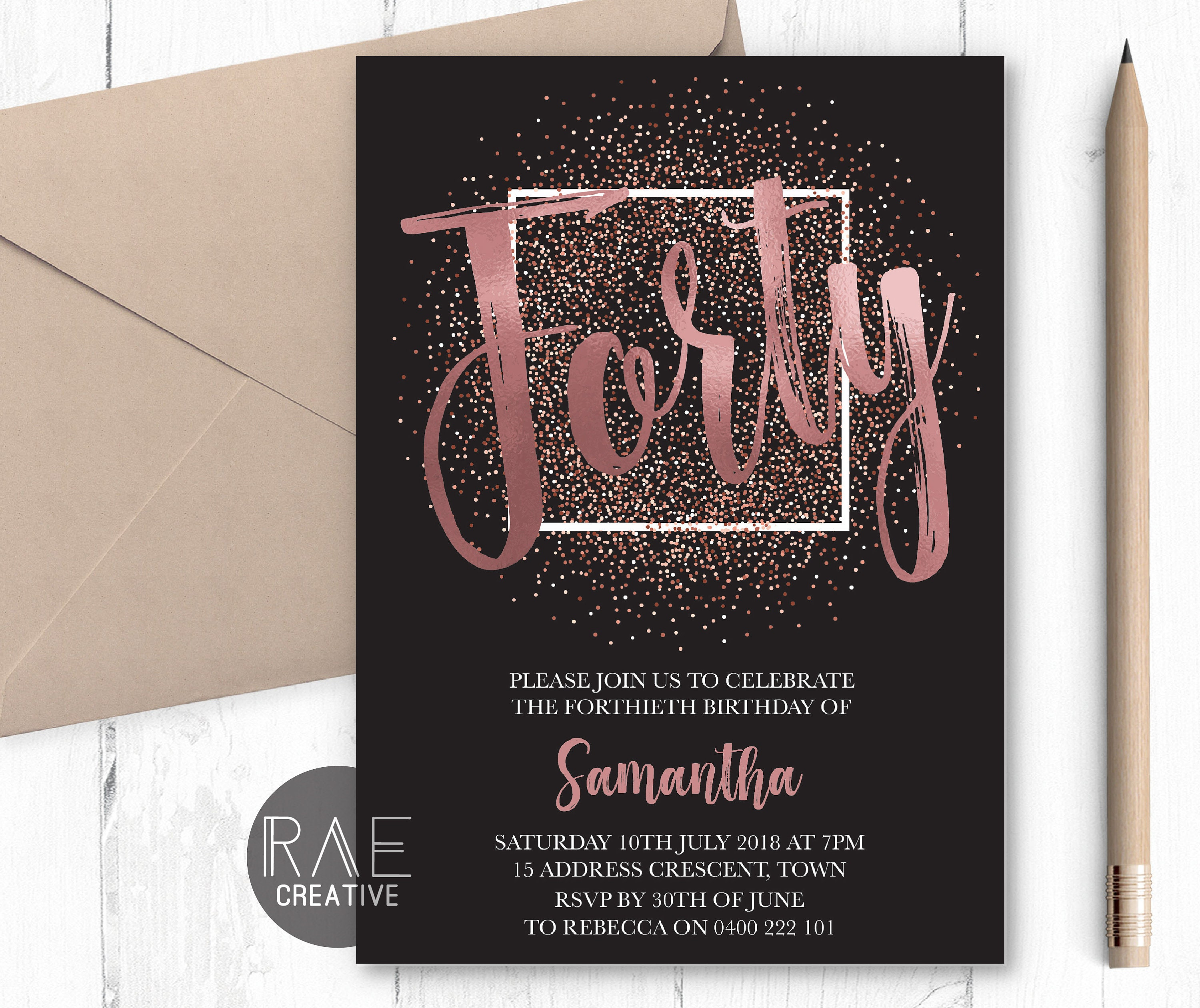 Rose Gold Forty And Fabulous Invitation 40th Birthday