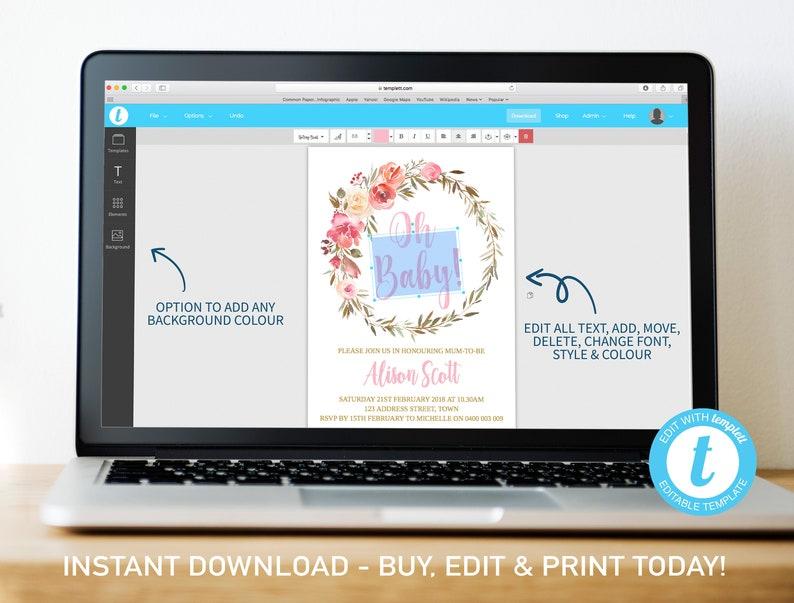 Baby shower Time Capsule Digital file, Card \u2022 Editable Template \u2022 1st Birthday message note boho Floral Watercolour Time Capsule