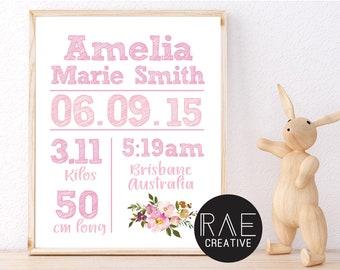 Girls Pink Floral Birth Details Print, Printable, Girls Birth Announcement, Wall Art, Baby Birth Details, Watercolour Flower