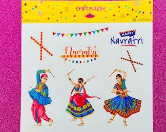 Navratri Dandiya Sticker Sheet - Kanya Pujan Gift - 11 stickers on 1 sticker sheet