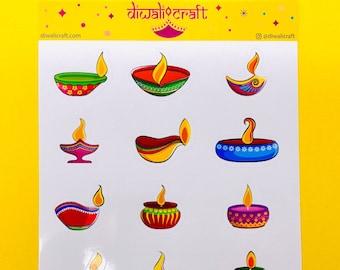 Diwali Diya Stickers - 15 stickers on 1 sticker sheet