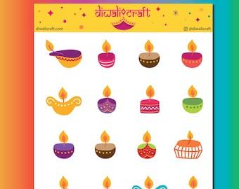Diwali Diya Stickers - 20 stickers on 1 sticker sheet