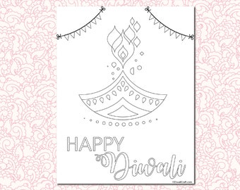 5 Days of Diwali Coloring Pages for Kids -  Dhanteras / Choti Diwali / Laxmi Pooja / Balipratipada / Bhai Dooj - Suitable for all ages