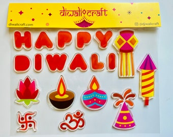 Diwali Decoration Window Gel Clings / Stickers - removable & reusable (facing inwards only)