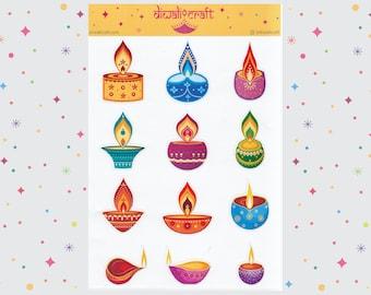 Diwali Stickers - Diya Lamp - 12 stickers on 1 sticker sheet