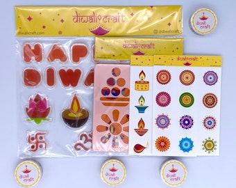 Diwali Gift Box - Diwali Festival Decoration - Window Clings, Washi Tape, Stencils, Stickers for Kids